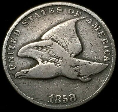 Nice Circulated Details 1858 Small Letters Flying Eagle Cent. Early Type Coin!