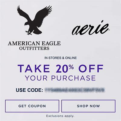 20% OFF American Eagle Outfitters & Aerie Promo Coupon Code Ex 10/18/18