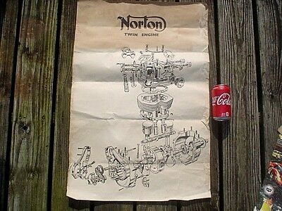 Vintage Original Norton Motorcycle Twin Engine Poster (Rough) 29''x19-1/2''