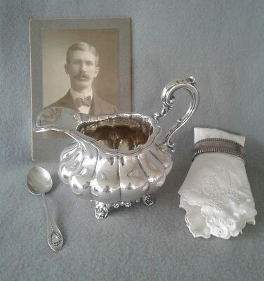 Victorian 1862 A.B. Savory & Sons Handcrafted Sterling Silver Melon Form Creamer