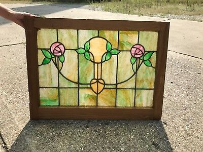 Antique Stained Glass Window -  Arts and Craft/Art Nouveau Pink Roses Wood Frame