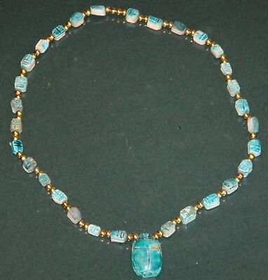 Vintage Egyptian Carved Scarab Stone Beaded Pendant Necklace