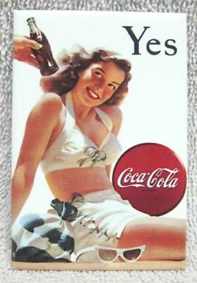 "Coca-Cola Classic -  Beautiful Swimsuit ""yes"" Girl Metal Magnet, New!"