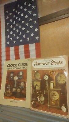 2 Vintage CLOCK Books Treasury of American Clocks & GUIDE Identification Prices