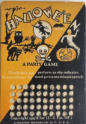 """Halloween Punch Card Board Vintage Holiday Toy """"A Party Game"""" Rare HTF"""