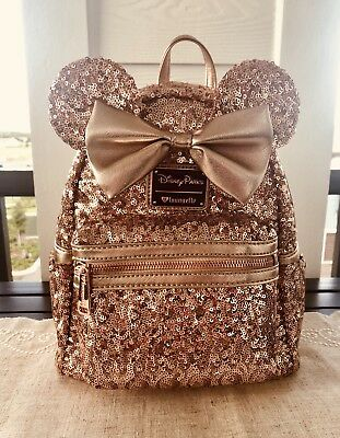 Disney Parks Exclusive Loungefly Minnie Mouse Sequin Rose Gold Backpack *NEW*