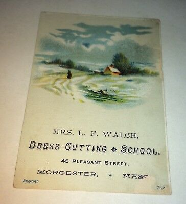 Rare Antique Victorian American Advertising Dress Cutting School Trade Card! US!
