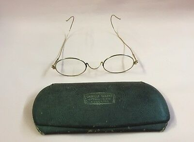 VERY OLD Antique Eyeglasses Gold Frames Wire Rims w/ Original CASE Must See!