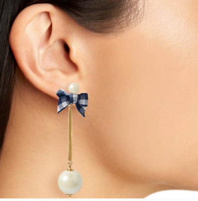 Kate Spade New York Long Navy Pretty Pearly Bow Stud Drop Earrings