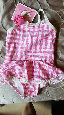 CIRCO 12 month pink and white checkered bathing suit, Ruffle skirt