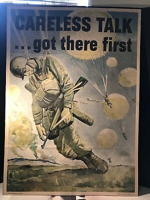 Antique Original WWII Propaganda Poster 1944 Careless Talk Got There First. Rare
