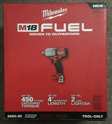 Milwaukee 2860-20 18-Volt 1/2-Inch M18 FUEL Pin Detent Impact Wrench - Bare Tool