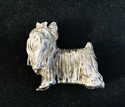Pewter Silver MALTESE Long Hair Dog Puppy Highly Detailed Metal Figurine Statue