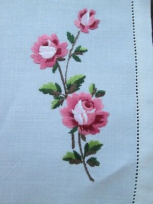 Vintage Hand Embroidered Roses Linen Table Centre / Tray Cloth 55 x 34 cm