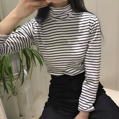80c2af123c Fashion Striped Long Sleeve T Shirts Tee Korean Style Women Loose T-shirt