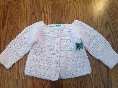 Girl's pink hand knit cardigan sweater rose bud buttons handmade baby vintage