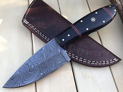 "HUNTEX Custom Handmade Damascus 8.7"" Long Buffalo Horn Hunting Skinning Knife"