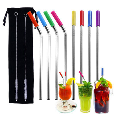8 Pcs Stainless Steel Metal Drinking Straw Reusable Straws + Cleaner Brush Kit