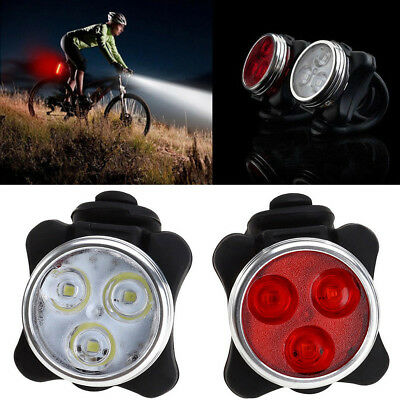 3 LED USB Rechargeable Bike Headlight Taillight Caution Bicycle Lights Bulbs NEW