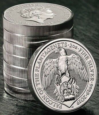 2019 not 2018 2oz Silver Queen's Beast Coin Falcon of the Plantagenets.