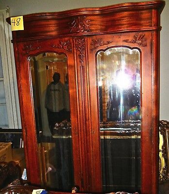 Antique  Armoire wardrobe cabinet  Bevel mirror 7  feet tall