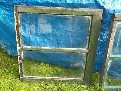Antique Hard Wood Window Sash Frame  2 Pane 1930's - 1940's