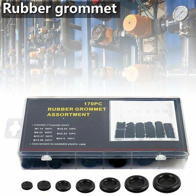 170pcs Rubber Grommet Assortment Firewall Hole Plug Electrical Wire Gasket Kit