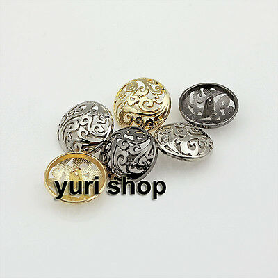 10pcs Hollow Flower Metal Round Shank Buttons Coat Suit Sewing Craft 18 23 25mm