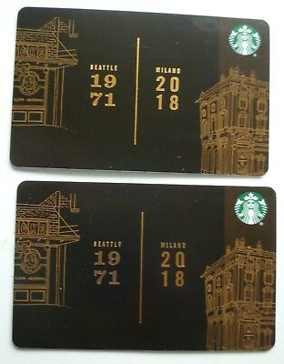 2 - New Starbucks Cards  2018  #6160 Seattle 1971 Milano 2018 Mint No Value