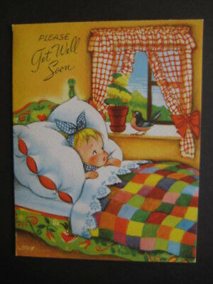 UNUSED 1950s vintage greeting card Crestwick GET WELL by Lory Girl Under Quilt