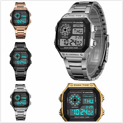 Fashion Analog-Digital Sports LED Date Stainless Steel Quartz Men's Wrist Watch