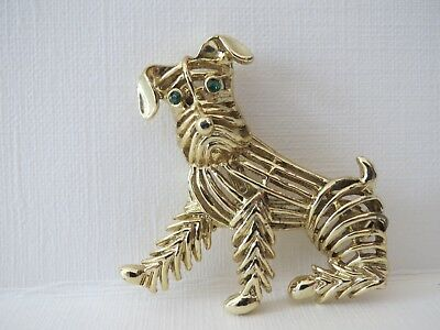 Vintage GERRY'S Dog Brooch Dog Pin Yellow Gold Tone Green Crystal Eyes 1.75 inch