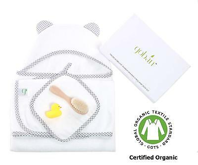 Organic Bamboo Hooded Baby Towel Bath Set Includes Washcloth Rubber Ducky Brush
