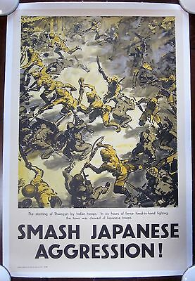 Smash Japanese Aggression -Original 1940's British Wwii Lb Poster- War Scene!
