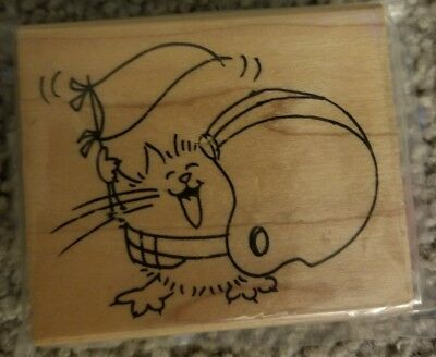 Stampendous Fluffles Football Rubber Stamp Cat V233
