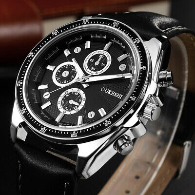 Fashion Mens Stainless Steel Watches Leather Band Sport Analog Quartz Wristwatch