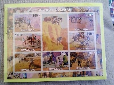 Cowboy Golfers on Stamps - 7 Stamp  Sheet  RWANDA INTACT
