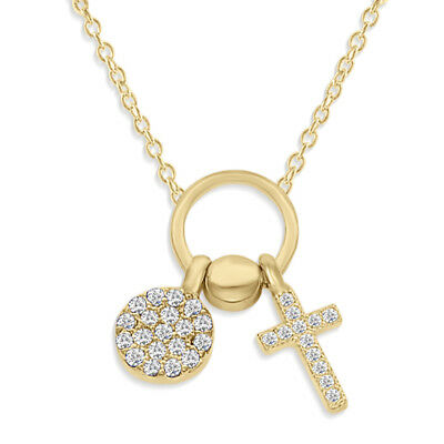 14k Yellow Gold Over Round Diamond Cross Pendant Necklace 925 Sterling Silver