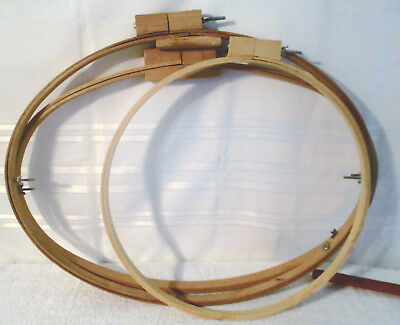 """3 extra large Embroidery Wood Hoops 19.5"""" x 25.5"""" , 17.5"""" x  26.5"""" & 18"""" Round"""