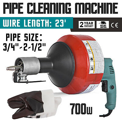 7.6m x 8mm Autofeed Portable Electric Drain Pipe Cleaning Machine 230V 700W