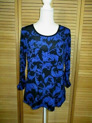 Susan Graver Liquid Knit Printed Top with Ruched 3/4 Sleeves XS A237685