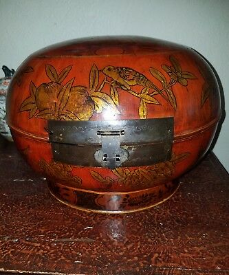 Chinese Asian Hand Painted  Wood Rice/Tea Bucket Basket 4 Character Mark