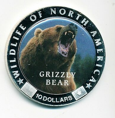 2000 Liberia $10 Grizzly Bear Coin - Wildlife Of North America Series