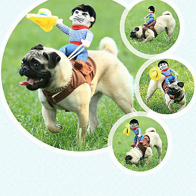 Funny Pet Small Large Dog Halloween Costumes Riding Cowboy Coat Clothes Cosplay