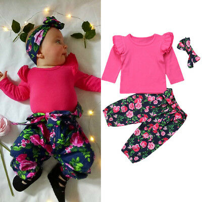 AU 3Pcs Newborn Baby Girl Long Sleeve Top Floral Pants Leggings Outfits Clothes