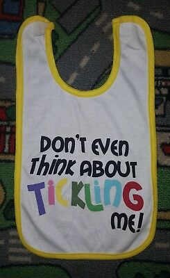 BABY BOYS ONE SIZE white yellow bib VELCRO TAB! DON'T EVEN THINK ABOUT TICKLING!
