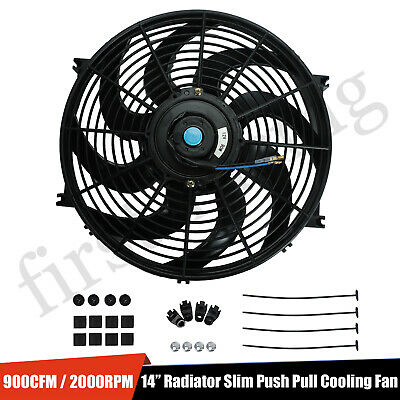 "14"" inch Universal Slim Fan Push Pull Electric Radiator Cooling 12V Mount Kit"