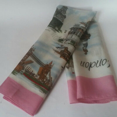 Vintage Scarf LONDON Pink Souvenier of England Polyester Vintage Scarf