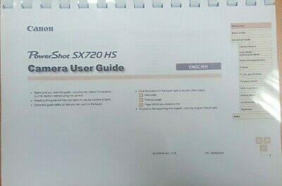 Canon Powershot Sx720 Hs Printed User Manual Guide Instructions 185 Pages A4