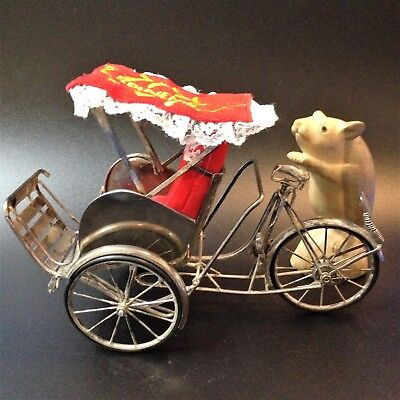 Asian Silver - Cycle Rickshaw - Ornament Model Souvenir - Large 22cm long